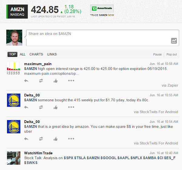 Screenshot of the AMZN Stream